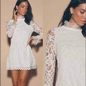 Love and Joy White Lace Long Sleeve Shift Dress